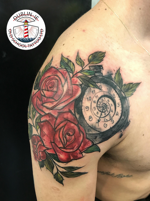 rose and pocketwatch tattoo