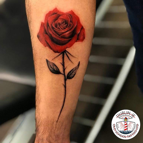 rose on the arm tattoo