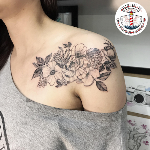 tattoo of flowers on shoulder